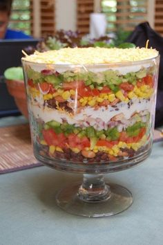Took this one to a picnic and came home with an empty bowl. [tried it]Mexican Trifle Salad (Pampered Chef) - delish! Took this one to a picnic and came home with an empty bowl. Trifle Bowl Recipes, Trifle Dish, Trifle Desserts, Trifle Recipe, Easy Salad Recipes, Easy Salads, Gourmet Desserts, Fruit Trifle, Mexican Salads