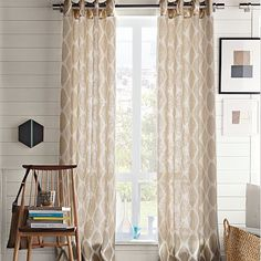 Ikat Ogee Linen Window Panel - want these, but don't want to pay the price!!