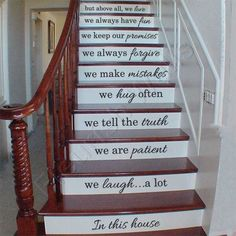 Vinyl Stair Decals - In This House We Do Quote Decals for Staircase Riser Decor - Staircase Sticker Family Quote Decal - Staircase Art FQ005 by FleurishWalls on Etsy https://www.etsy.com/listing/182664652/vinyl-stair-decals-in-this-house-we-do