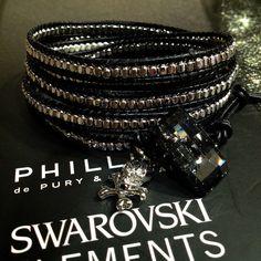 hand made bracelet  wiz Swarovski n silver x black