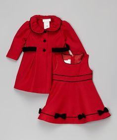 Red Velvet Bow Dress & Swing Coat