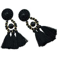 Black Beads Long Tassel Party Dangle Earrings ❤ liked on Polyvore featuring jewelry, earrings, long dangle earrings, fringe tassel earrings, beads jewellery, party earrings and beaded jewelry