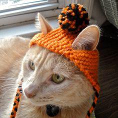 Pom Pom Cat Hat  Orange and Black by bitchknits on Etsy, $14.00