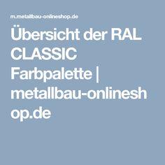 Übersicht der RAL CLASSIC Farbpalette   metallbau-onlineshop.de