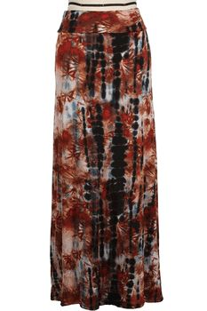 Only $42 at moonshinebay.org and free priority shipping. Super soft rayon tie dye maxi skirt with a comfortable fold over waist.  Great earthy colors