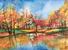 Beautiful watercolor painting of a Russian Orthodox Church and its reflection in the water in the season of Fall, Gulina! This is very lovely and well done! Blessings to you and the Church! Fave!