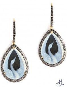 Syna Swan Cameo Earrings