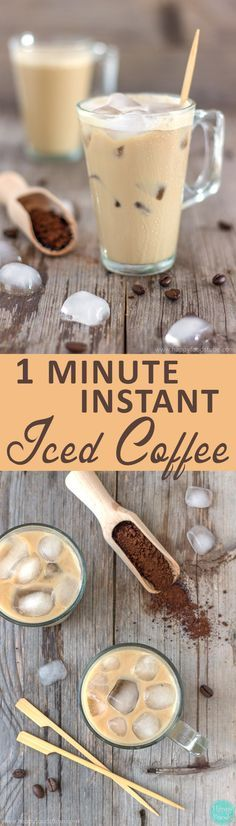 This 1 Minute Instant Iced Coffee is the best way to enjoy a cup of coffee in summer! If you haven't tried it yet here is your chance! ❤   happyfoodstube.com