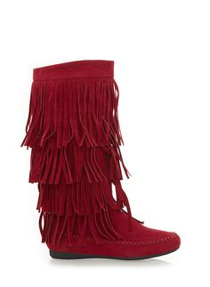 Rainbow Shops Tiered Fringe Moccasin Boots $34.99 | TUESDAY, SHOES ...