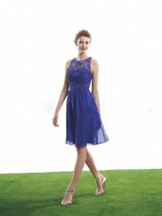 A-line Scoop Lace Sleeveless Knee-length Chiffon Bridesmaid Dresses