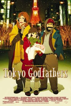 Directed by Satoshi Kon, Shôgo Furuya.  With Tôru Emori, Yoshiaki Umegaki, Aya Okamoto, Shôzô Iizuka. On Christmas Eve, three homeless people living on the streets of Tokyo find a newborn baby among the trash and set out to find its parents.