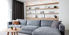 🌟 💖 🌟 💖 New interior after renovation & transformation Interior Design by Nicole & Fleur - couch Living Room Shelves, Living Room Storage, Home Living Room, Living Room Designs, Living Room Decor, Muebles Living, Scandinavian Living, Room Inspiration, Family Room
