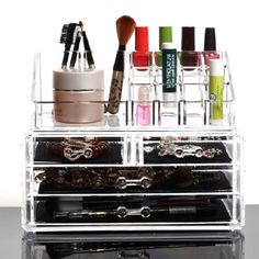 Multi-functional Clear Acrylic Makeup Cosmetics Jewelry Rack Holder Drawer Storage Case Box Organizer #Affiliate
