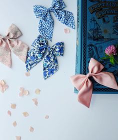 """What an underrated color combination. This """"Cobalt + Blush"""" collection is perfect for adventuring all day until dreamy sunsets set in. // Free Babes Handmade bows are made with love in the USA."""