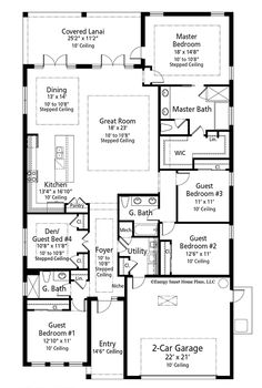 4 or 5 Bed Energy-Saving House Plan - floor plan - Main Level House Plans One Story, One Story Homes, Story House, House Floor Plans, 5 Bedroom House Plans, Master Suite, Master Closet, Master Bath, Br House
