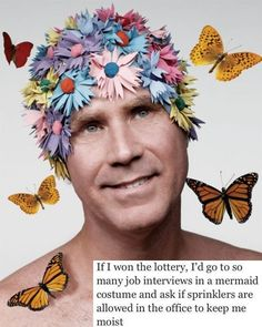 OMG! A favorite of ours... Will Ferrell in flower cap with lottery quote.  #willferrell #funny #quote