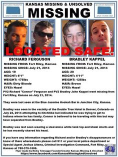 They have been located safe about 2 days ago