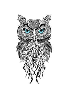 black and white owl this would be awesome as a tattoo between the shoulder blades. Might consider it...