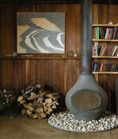 A few years ago I came across the Hatch House in Wellfleet. Its a modernist wood shack in the scrubby hills next to the bay beach on Cape. Interior And Exterior, Interior Design, Cozy Fireplace, Hearth And Home, Log Homes, Rustic Style, Decoration, House Design, Painting