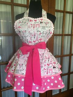 Paris Apron Eiffel Tower Apron French by CookedWithLoveAprons