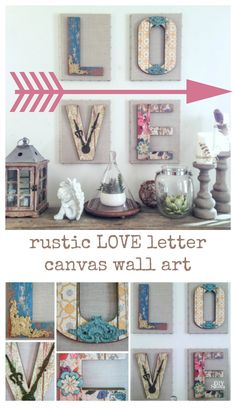 Cute chippy rustic DIY LOVE letter wall art tutorial from MichaelsMakers DIYshowoff (cute canvases) Love Wall Art, Diy Wall Art, New Wall, Diy Wall Decor, Diy Art, Diy Canvas Art, Canvas Wall Art, Letter Wall Decor, Canvas Letters