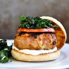 Turkey Burgers with Gruyere Cheese, Mustard, Scallions and Garlic.