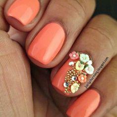 See more about flower nail art, coral nails and flower nails. Best Nail Art Designs, Nail Designs Spring, Beautiful Nail Designs, Pretty Designs, Rose Nails, 3d Nails, Acrylic Nails, Matte Nails, Coffin Nails