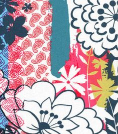 Keepsake Calico™ Cotton Fabric-Bright Floral Stamped