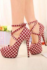 Fashion Plaid Pattern Woman Strappy High Heels