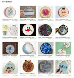 Embroidery Hoop Art, Ribbon Embroidery, Stormy Sea, Blue Mosaic, Moon Print, Abstract, Pink, Etsy, Summary