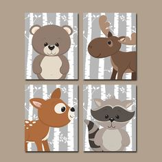 Woodland Nursery Wall Art Birch Wood Forest Animal by TRMdesign