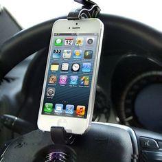 Travel Smart Universal Holder / Steering Wheel Phone Holder for iPhone 5 / Smartphone (Black) Car Parts And Accessories, Room Accessories, Smartphone Holder, Smart Car, Car Mount, Iphone, Travel, Black, Shop