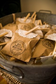 kraft paper wedding favors bag / http://www.deerpearlflowers.com/rustic-country-kraft-paper-wedding-ideas/2/