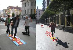 © Urban Prototyping Festival. A prototype of CitiPlay, a kit that turns a sidewalk into a digital hopscotch board.