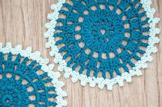 Crochet coasters / doilies round dark blue egyptian by elamys
