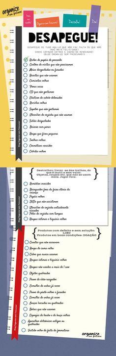 Organize sem Frescuras | Rafaela Oliveira » Arquivos » Infográfico | Desapegue de 40 coisas que você não usa mais!