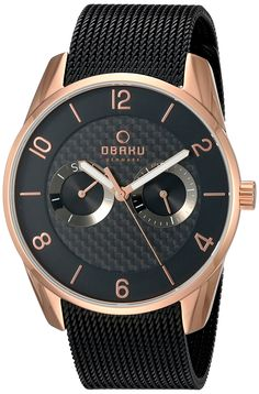 Obaku Men's Quartz Stainless Steel Dress Watch, Color:Black (Model: V171GMVBMB). Rose gold & black IP watch with carbon fiber dial, super luminous hands, day & date subdials, and black IP mesh strap. Durable hardened mineral crystal protects watch from scratches. Analog-quartz Movement. Case Diameter: 40mm. Water resistant to 50m (165ft: in general, suitable for short periods of recreational swimming, but not diving or snorkeling.