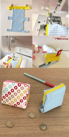 Ma petite Trousse de toilette [Tuto – BagsYou can find Coin purses and more on our website. Fabric Crafts, Sewing Crafts, Sewing Projects, Diy Projects, Wallet Sewing Pattern, Hand Sewing, Sewing Patterns, Handbags For School, Sew Wallet