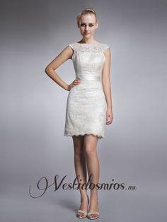 Elegante Vestidos de Novia Cortos de Encaje Con Mangas VW1181 [VW1181] - Mex$2,309