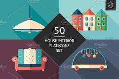 50 House interior flat icons set. #homeinterior #homefurniture #flaticons #vectoricons #flatdesign