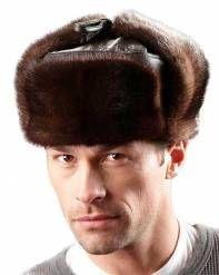 6583f842bfe Mink Fur   Leather Russian Ushanka Hat Trooper Hat