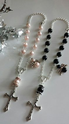 Small Rosary, Baptism Favors Rear View Mirror Rosary, Baptism Gift, First Communion Gift, In the Mem Rosary Bracelet, Rosary Beads, Beaded Jewelry, Fine Jewelry, Jewelry Making, First Communion Gifts, Baptism Favors, Diamond Solitaire Necklace, Religious Jewelry