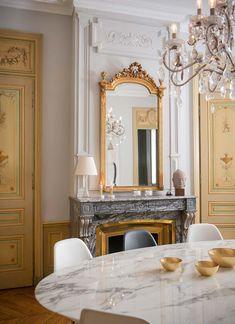 Lyon, Style Deco, Paris Apartments, Classic Interior, House 2, Living Room Decor, Dining Room, Interior Design, Mirror
