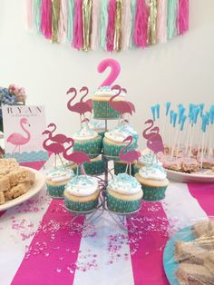 Pink and Blue Flamingo Birthday Party Ideas - super-cute decor and food ideas!