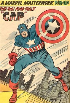 Captain America pinup by Jack Kirby from Avengers #10, 1964