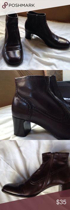 Franco Sarto zippered ankle boots Franco Sarto zippered ankle boots, dark brown, worn once Franco Sarto Shoes Ankle Boots & Booties