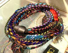 black silk and colorful trim