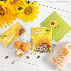 Send an uplifting message with bright and cheerful sunflower seed promotions! They are easy to grow and are perfect for spring and summer. Popcorn Wedding Favors, Homemade Wedding Favors, Edible Wedding Favors, Wedding Favors Cheap, Wedding Favours Luxury, Vintage Wedding Favors, Mini Champagne, Candle Favors, Seed Paper