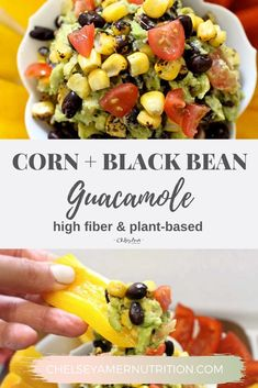 Corn and Black Bean Guacamole is traditional guacamole, amplified with kernels of corn and black beans for a chunky, satisfying dip. Healthy Appetizers Dips, Healthy Dips, Healthy Tacos, Appetizer Recipes, Snack Recipes, Healthy Recipes, Kitchen Recipes, Cooking Recipes, Guacamole Recipe