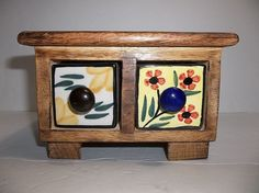 Vintage Mexican Folk Art SPICE BOX Cabinet WOOD With Pottery Drawers